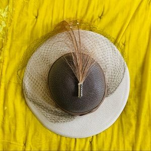 60s Straw Hat with Birdcage